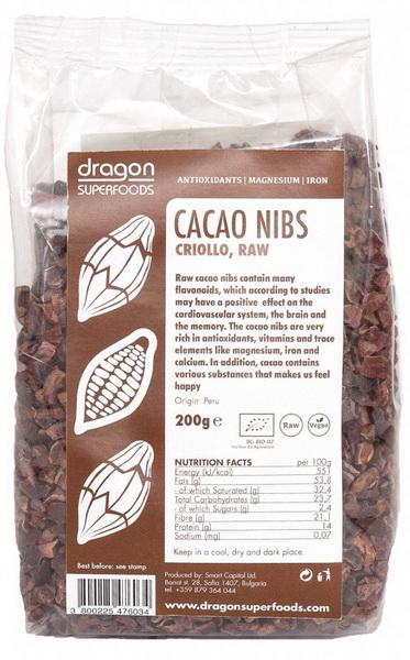 Miez din boabe de cacao bio (cacao nibs) 200g