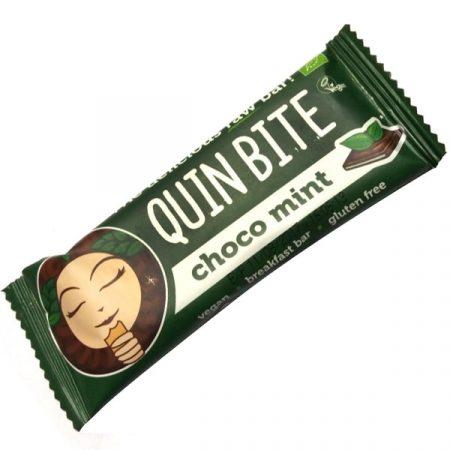 Baton cu ciocolata si menta raw bio 30g Quin Bite